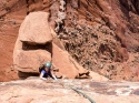 Coming up the direct 'Coyote Calling' finish on P3 of Fine Jade on the Rectory. [Castle Valley, UT]