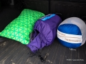 From L to R: Compressible Pillow (Size XL), NeoAir Dream Mattress (Size L), Vela HD Quilt with the Argo also stuffed inside.