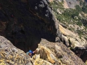 Looking down P2. Liberty Bell via 'Beckey Route' - North Cascades, WA.