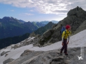 Slooooowwwwlllly making our way up the first snowfield with intermittent slabs of rock.