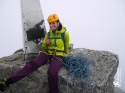 Oh hey, it\'s the summit of Piz Badile (3,308 m/10,853 ft). Just in time for some rain and summit bivouac hut locating...