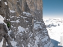 Eric Jesse on a winter ascent of the Eiger Nordwand via Original/1938 Route (3970m). [Switzerland]