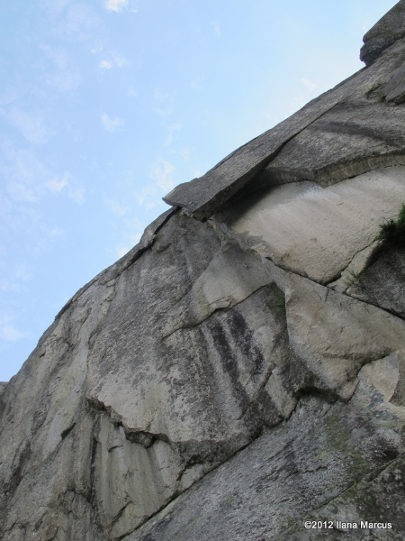 Looking up first crux pitch (P8) of Siebenschläfer - Grimsel Valley, Switzerland