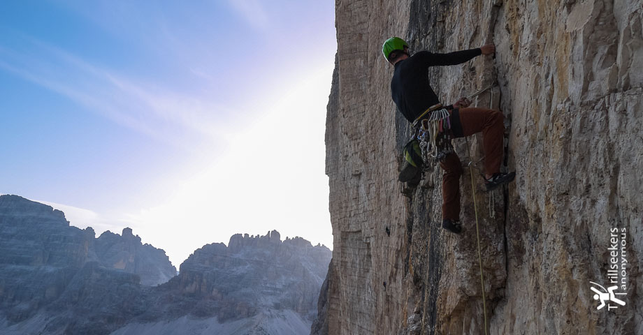 Watching the sunrise from P3 of Comici on Grande Cime di Lavaredo
